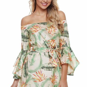Tropical Leaf and Flower Print Off Shoulder Dress