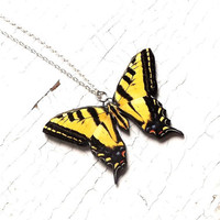 Yellow Swallowtail Butterfly, Yellow butterfly necklace, butterfly necklace, butterfly jewelry, Free Shipping Worldwide, summer jewelry