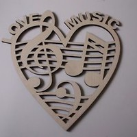 Music Notes Heart, Laser Cut Wood Shapes, Music Decor, Christmas, Home Decor