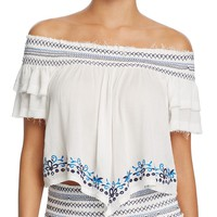 Surf GypsyEmbroidered Off-the-Shoulder Top Swim Cover-Up