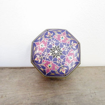 Vintage Tin Can / Trinket Box / Purple Trinket Box / Boho Decor / Boho Storage / Funky Tin Can