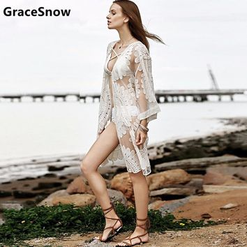2018 Pareo Beach Cover Up Floral Embroidery Bikini Cover Up Women Robe De Plage Cardigan Bathing Suit Ladies Cover Ups Smock