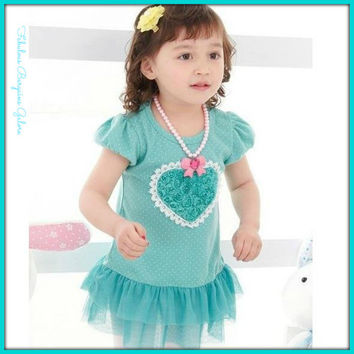 Girls Summer Dress With Heart Shape Design