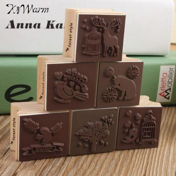 KiWarm Beautiful Best Price Cute DIY Retro Vintage Forest Animal Diary Album Scrapbook Wooden Rubber Stamp Good For Collection