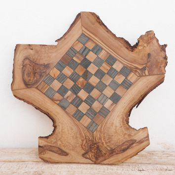Engraved Wooden Rustic Chess Set Natural Edges Chess Board, Dad gift, Gift for Him
