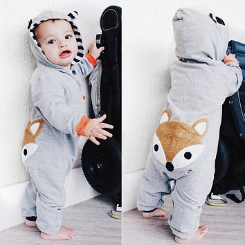 Newborn Kid funny baby clothes Stripe Fox Boys Girls Spring Autumn new born baby clothes Hoodie Jumpsuit Outfits baby costumes