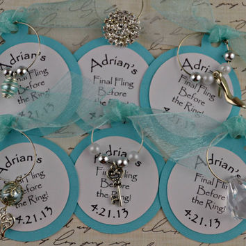 Wine Charm Favors Bachelorette Wedding Anniversary Bridal Shower Customized
