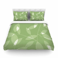 "Alison Coxon ""Leaf Olive"" Green Cotton Duvet Cover"