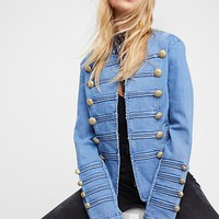 Fitted Military Denim Jacket