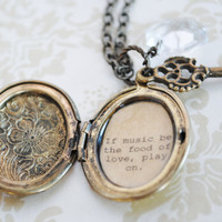 Shakespeare - Women's Locket - If music be the food of love, play on