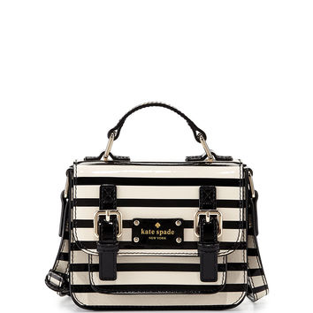 scout girls' striped patent leather crossbody bag, cream/black - kate spade new york