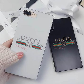 GUCCI Tide brand graffiti letter square all-inclusive soft shell iPhonex phone case