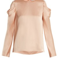Celestia draped-sleeve satin top | Tibi | MATCHESFASHION.COM US