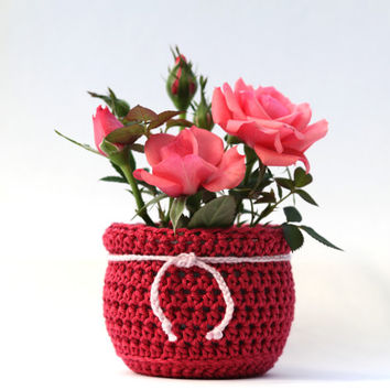Plant Pot, small vase, red crochet, valentines gift, succulent planter