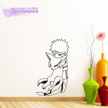 Naruto Sasauke ninja  Japanese Cartoon Car Kurama Sticker Uzumaki  Decal Posters Vinyl Wall Decals Pegatina Decor Mural Sticker AT_81_8