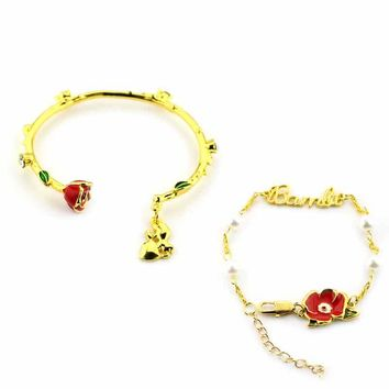 Beauty and the beast Gold Color Rose Beauty Beast Bell 's Bracelets & Bangles Women Halloween High Quality Gift Movie Jewelry