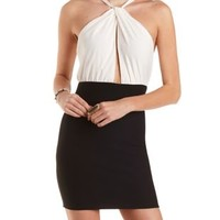 Black/White Crossover Color Block Bodycon Dress by Charlotte Russe