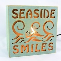 Beach Themed Lighted Desk and Table Box Lamp - Seaside Smiles (#1)