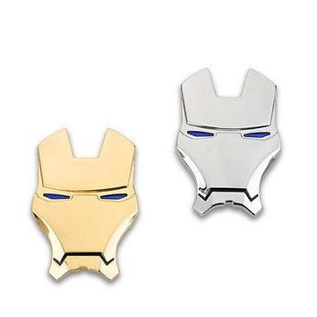 Automobile personality 3D solid metal iron man logo avengers car sticker modified body sticker decoration