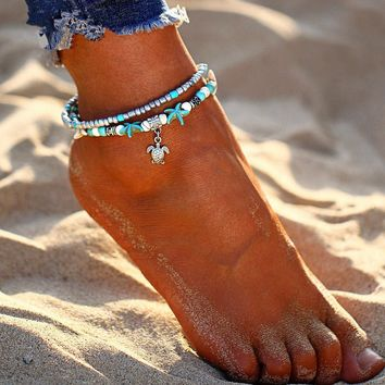 New Design Shell Anklet Beads Starfish Anklets For Women Multi Layer Bracelet Handmade Bohemian Leg Jewelry Sandals Gift
