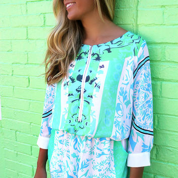 Pismo Beach Printed Quarter Sleeve Mint And Green Romper