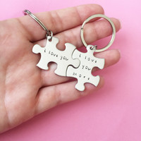 Valentines Day Gift, I love you more Keychains, Anniversary Gift, Romantic Gift, puzzle piece keychains, Boyfriend Girlfriend Gift, Husband Wife