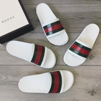 GUCCI Fashion Men Women Stripe Slides
