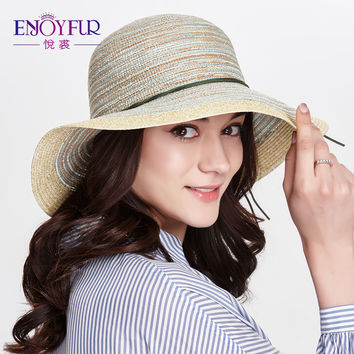 ENJOYFUR Summer oversized brim sun hat for Women straw weaver sunscreen