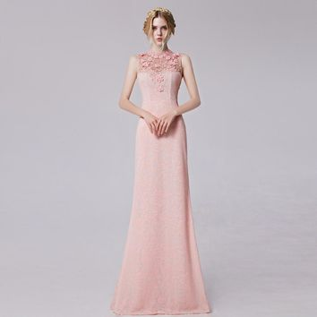 2016 Coniefox New Styles Sleeveless Rose Embroidery Appliques Pink Homecoming Prom Long Dress 31256