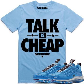 TALK IS CHEAP Carolina Sneaker Tees Shirt - Nike Air Max 97 Blue Hero 36cbdb700