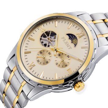 2016 Men Automatic Watch, Full Steel Band Moon Phase Second Hand Business Mechanical Watches