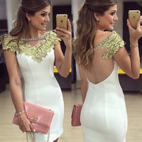 White Sheath Homecoming Dress,Backless Homecoming Dress,Homecoming Dresses