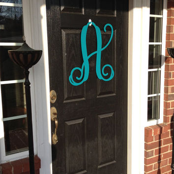 "Monogram wreath 23"" tall Spring door decor, large metal letters, monogram door hanger,wedding gift, anniversary gift, outdoor wreath,"