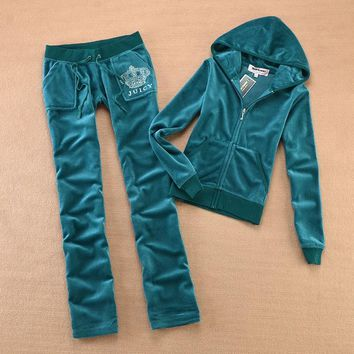 Juicy Couture Original Velour Tracksuit 613 2pcs Women Suits Khaki