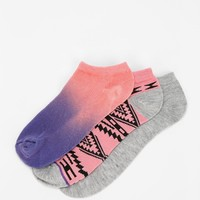 Ecote Blanket-Pattern No-Show Sock - Pack Of 3 - Urban Outfitters