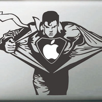 "Vati Leaves Removable Creative Cartoon Cool Superman Decal Sticker Skin Art Black for Apple Macbook Pro Air Mac 13"" 15"" inch / Unibody 13"" 15""Inch Laptop = 1946119812"
