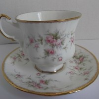 Royal Albert Victoriana Rose Cup Saucer Vintage 1966 Bone China