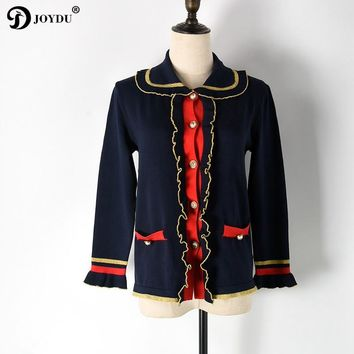 JOYDU Cardigan 2017 Luxury Brand Runway Winter Sweater for Women Peter Pan Collar Single Breasted Gold Navy Wool Knitted Coat