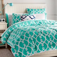 Totally Trellis Comforter + Sham, Pool