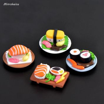 4 Pcs/set Cute Miniature Food Sushi Figurine Decor Mini Fairy Garden Cartoon Character Statue Model Anime Resin Craft Ornaments