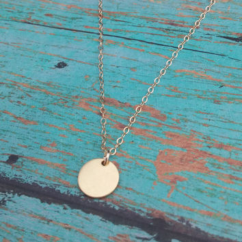 Gold Disc Necklace / Tiny Round Charm / Dainty Gold Necklace
