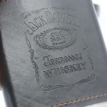 9oz Stainless Steel Hip Flask with Jack Daniel's Engraved Leather Cover