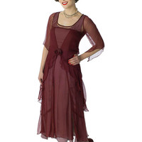 Garnet Chiffon Romantic 20s Inspired Dress-Nataya Dresses