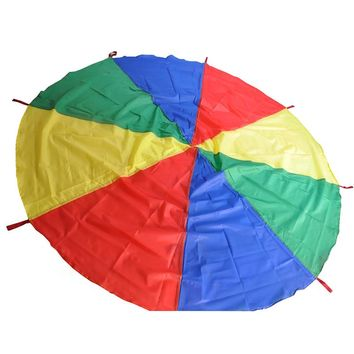 Hot 1 Pc Kids Outdoor Sports 8 Handle Rainbow Parachute Play Games Toys For Children Cooperation Development Umbrella Jump-sack