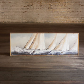 Oil Painting- Sail Boats with Wooden Frame - Horizontal
