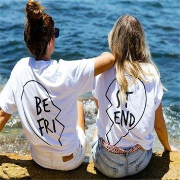 ESBONX5H Summer Best Friends T Shirt Print Letter BE FRI ST END Women T-shirt Fashion Short Sleeve Women Clothing White Black