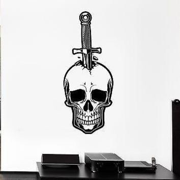 Wall Decal Skull Knife Dagger Death Fear Skeleton Mural Vinyl Stickers Unique Gift (ed033)