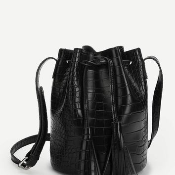Tassel Detail Crocodile Pattern Drawstring Crossbody Bag