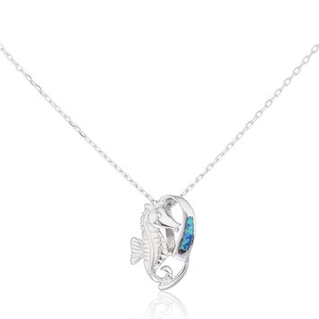 925 Sterling Silver Opal Seahorse Necklace (Blue)