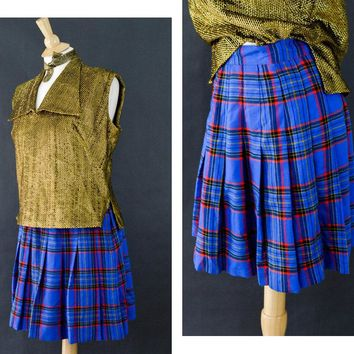 Vintage Plaid Clueless Skirt, Blue Plaid School Girl Skirt, 90s Grunge Skirt, High Waisted Skirt, Tartan Pleated Skirt, Size Large Skirt